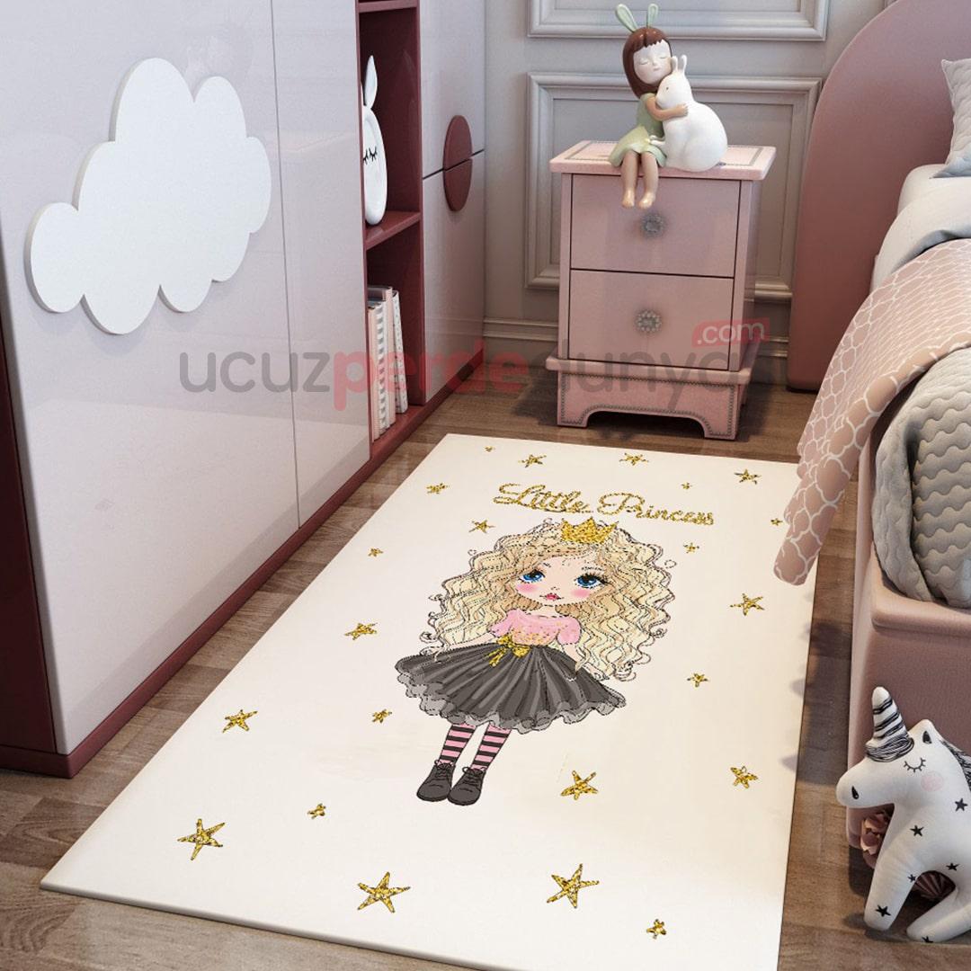 Siyah Küçük Prenses Bebek Odası Halı