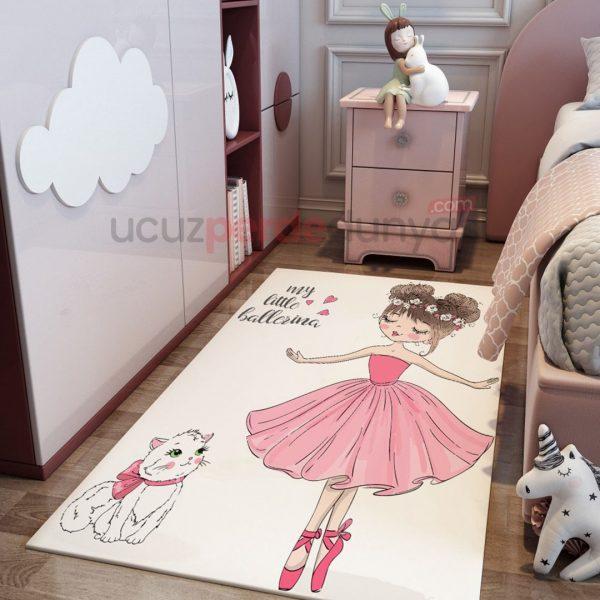 Pembe Balet ve Kedi Çocuk Odası Halı