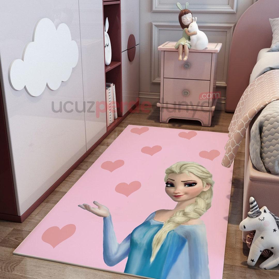 Pembe Elsa Frozen Çocuk Odası Halı