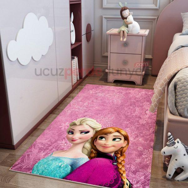 Pembe Elsa Frozen ve Anna Çocuk Odası Halı