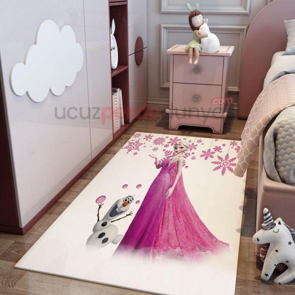 Pembe Elsa Frozen ve Olaf Çocuk Odası Halı