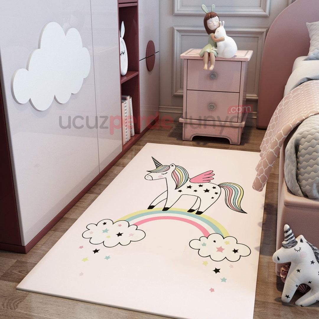 Gökkuşağı ve Unicorn Çocuk Odası Halı