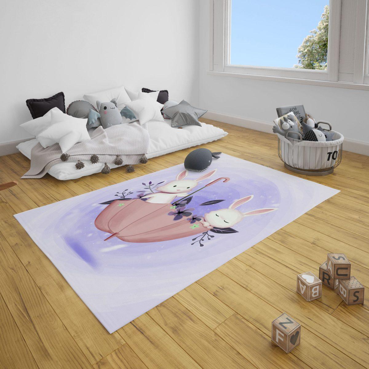 Şemsiyedeki Tavşanlar Bebek Çocuk ve Çocuk Odası Halı