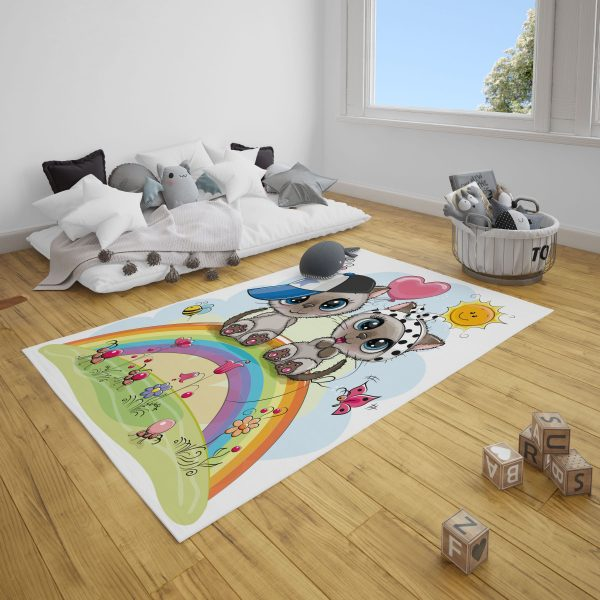 Sevimli Kediler Bebek Odası ve Çocuk Odası Halı
