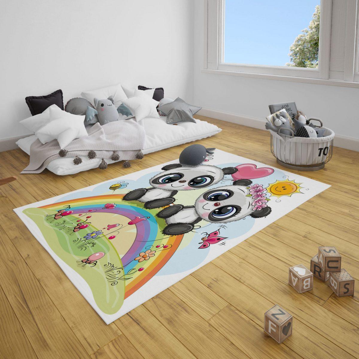 Sevimli Pandalar Bebek Odası ve Çocuk Odası Halı