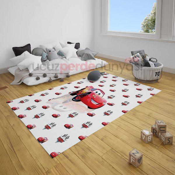 Yansıma Şimşek Mcqueen Arabalar Çocuk Odası Halı