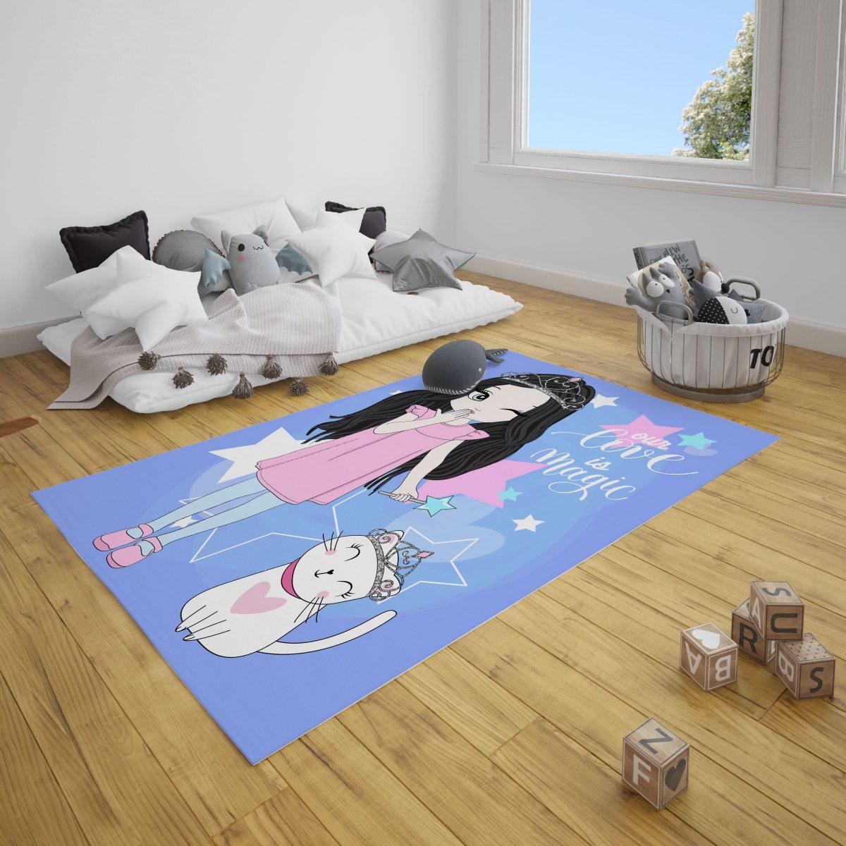 Şirin Peri ve Kedi Bebek Odası Çocuk Odası Halı