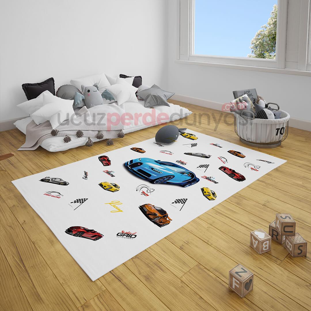 Spor Arabalar Çocuk Odası Halı