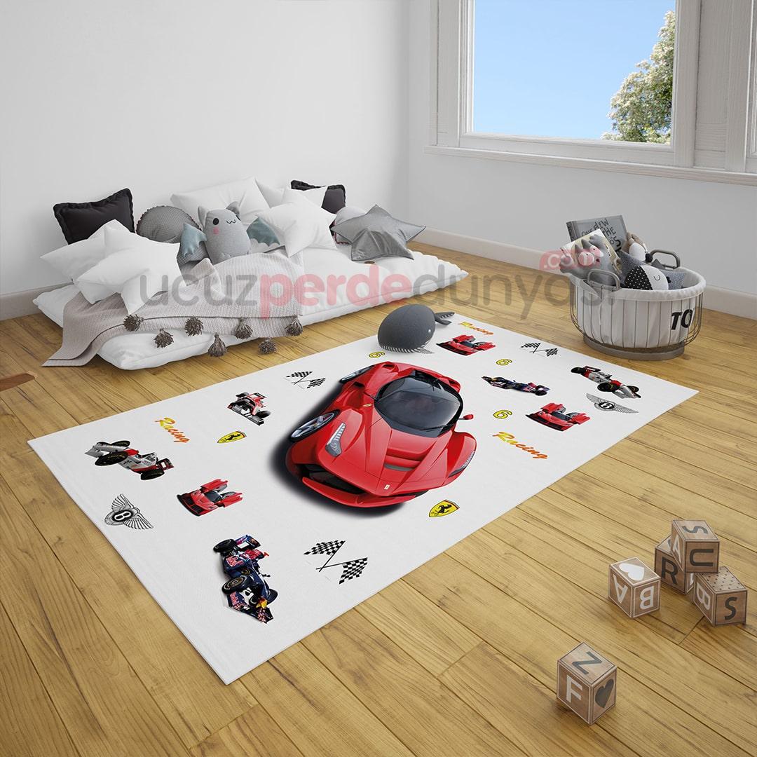 Sportif Arabalar Çocuk Odası Halı