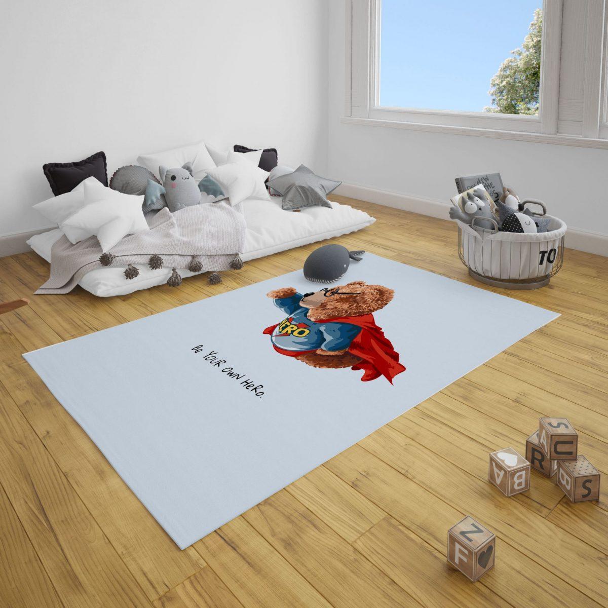 Süper Ayı Ted Bebek Odası ve Çocuk Odası Halı