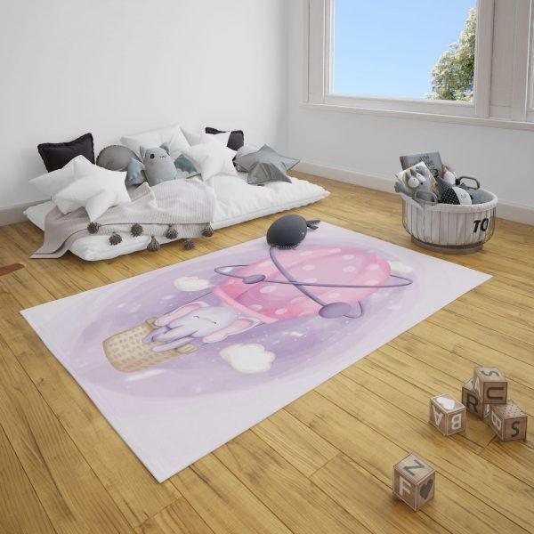 Uçan Balondaki Fil Bebek Odası ve Çocuk Odası Halı