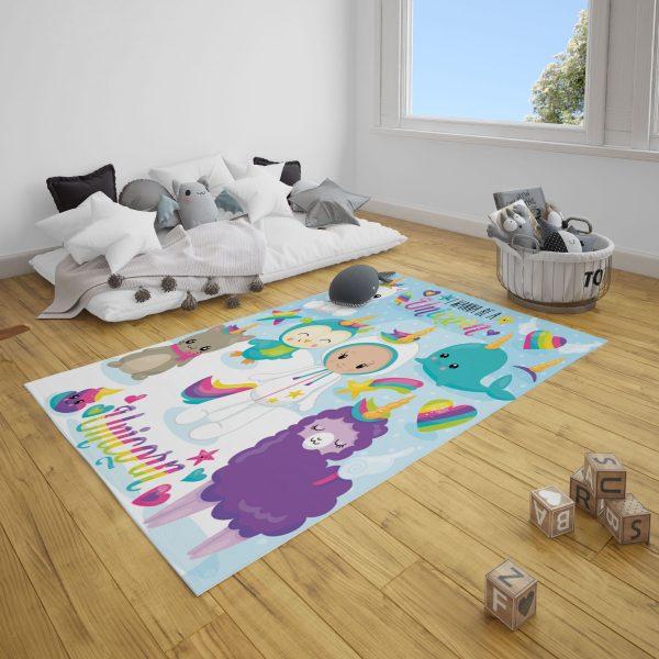 Unicorn Dünyası Bebek Odası ve Çocuk Odası Halı