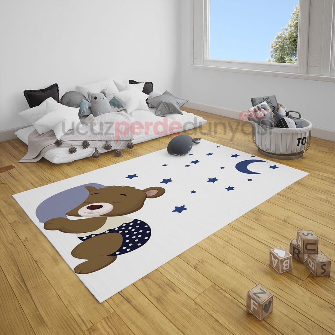 Uyuyan Sevimli Ayı Bebek Odası Halı