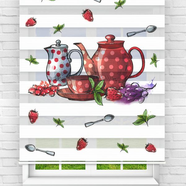 Çilek ve Çaydanlık Mutfak Stor Zebra Perde