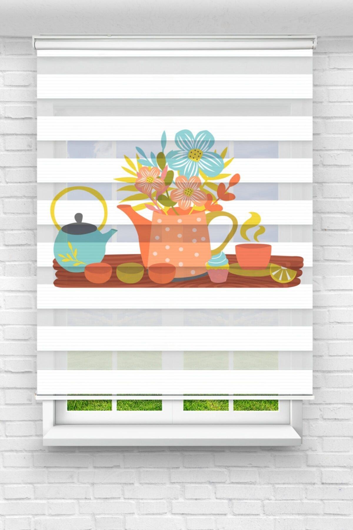 Çaydanlıktaki Çiçekler Mutfak Stor Zebra Perde