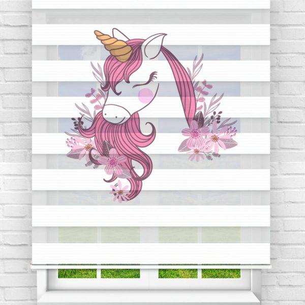 Pembe Çiçekli Unicorn Çocuk Odası Stor Zebra Perde