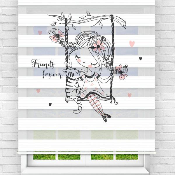 Daldaki Salıncak Kız Çocuk Odası Stor Zebra Perde