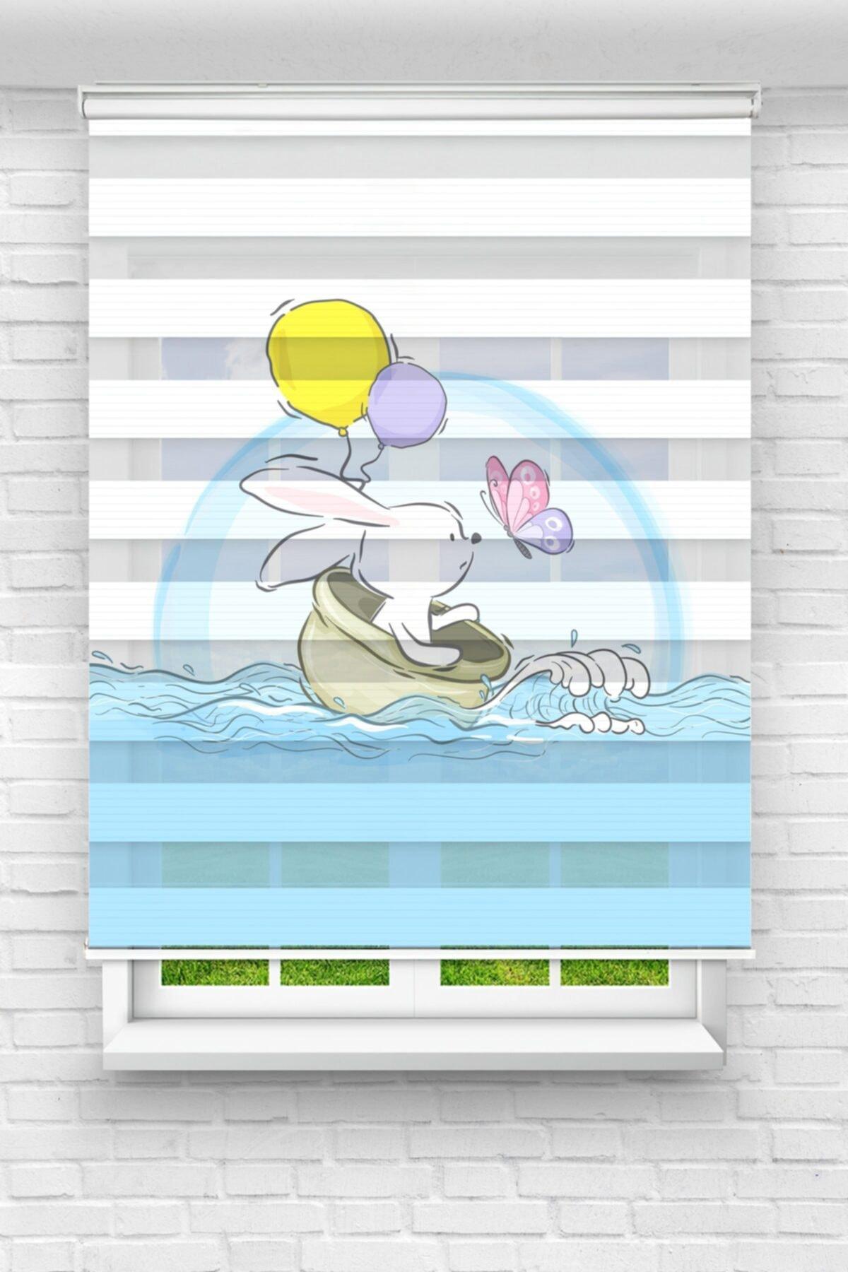 Denizdeki Tavşan Çocuk Odası Stor Zebra Perde