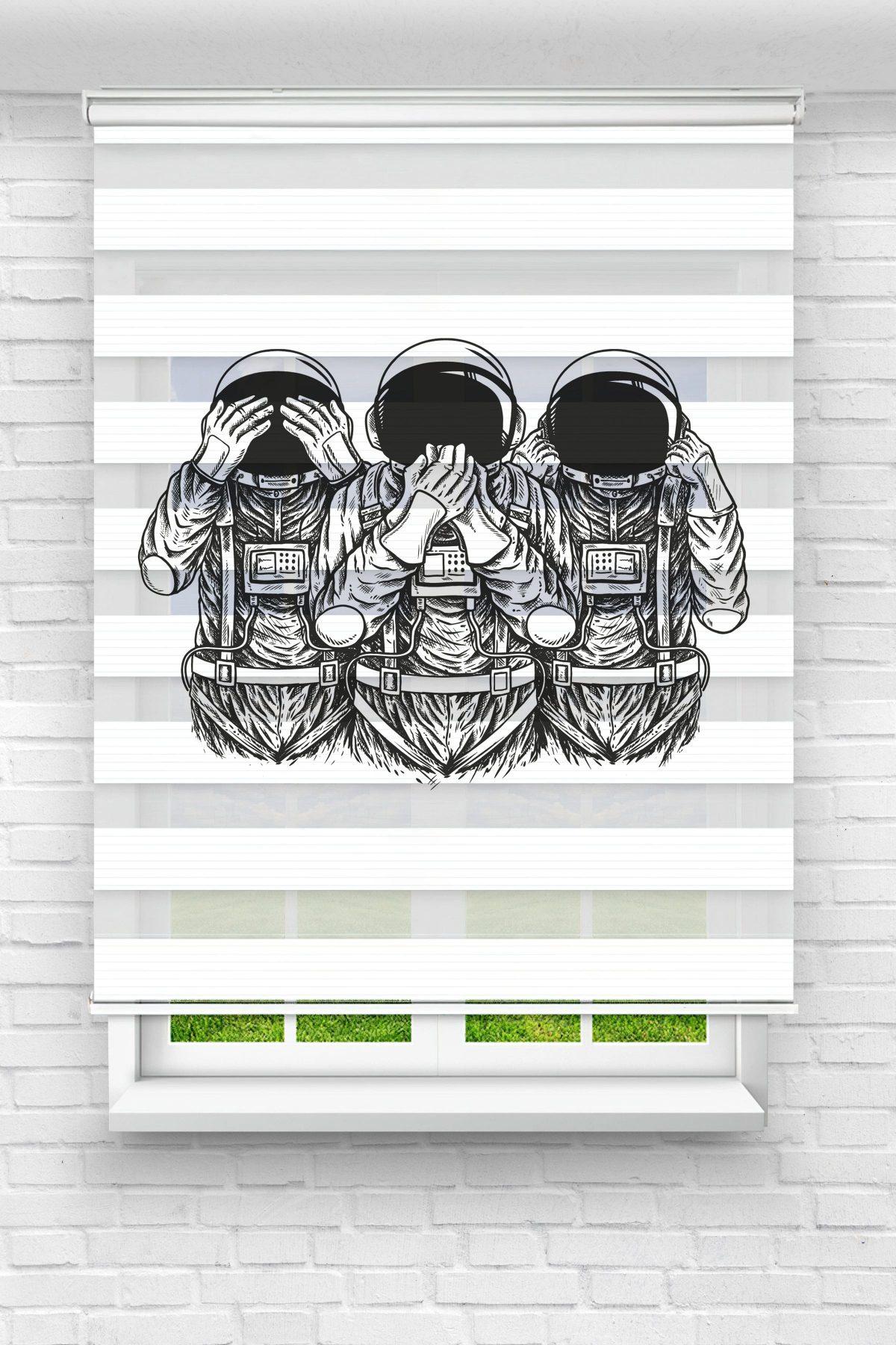 Görmedim Astronot Genç Odası Stor Zebra Perde