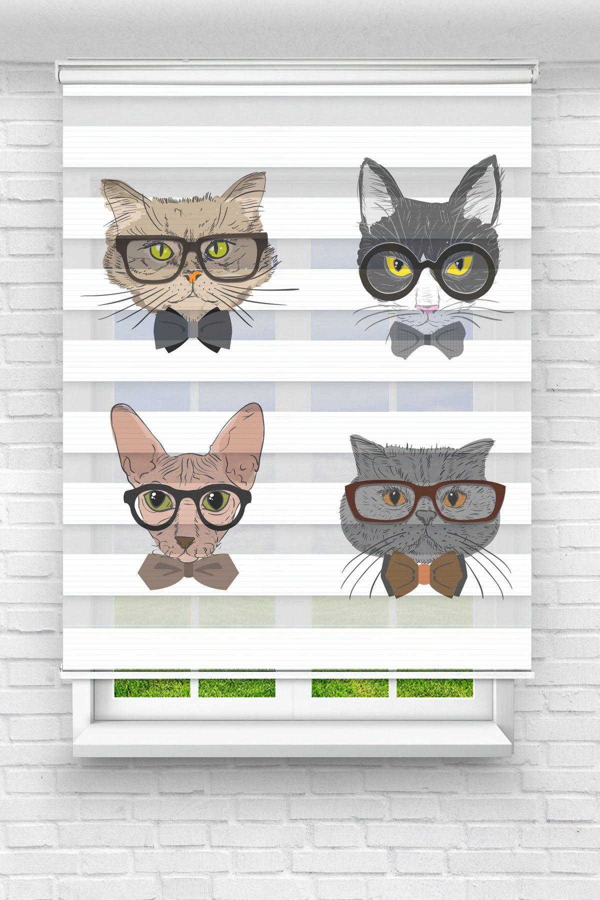 Gözlüklü Kediler Genç Odası Stor Zebra Perde