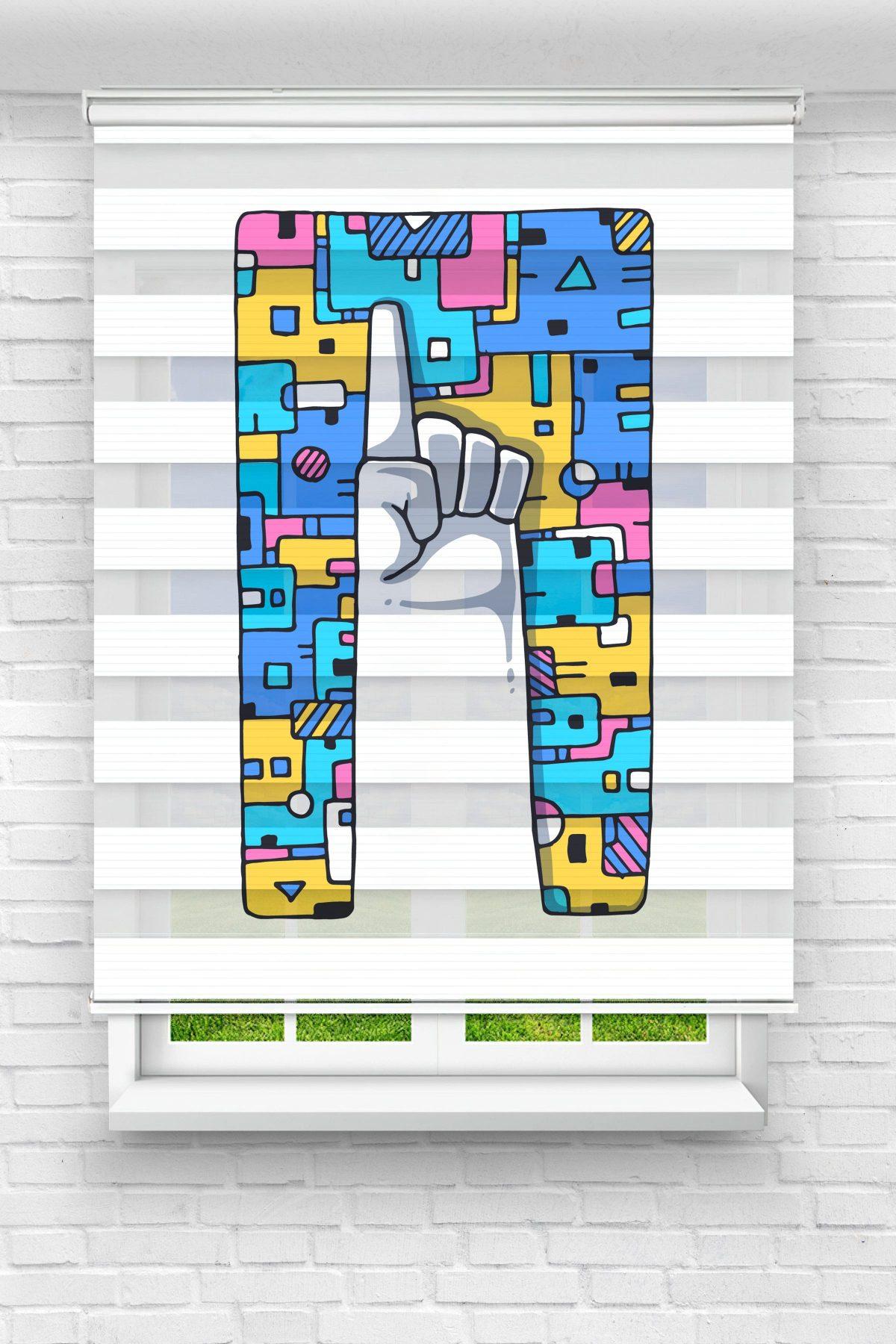İşaret Parmağı Genç Odası Stor Zebra Perde