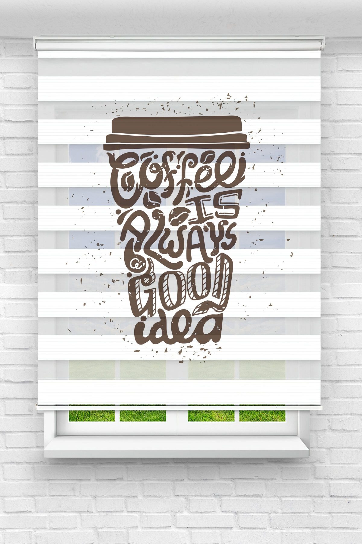 Coffe Is Always Mutfak Stor Zebra Perde