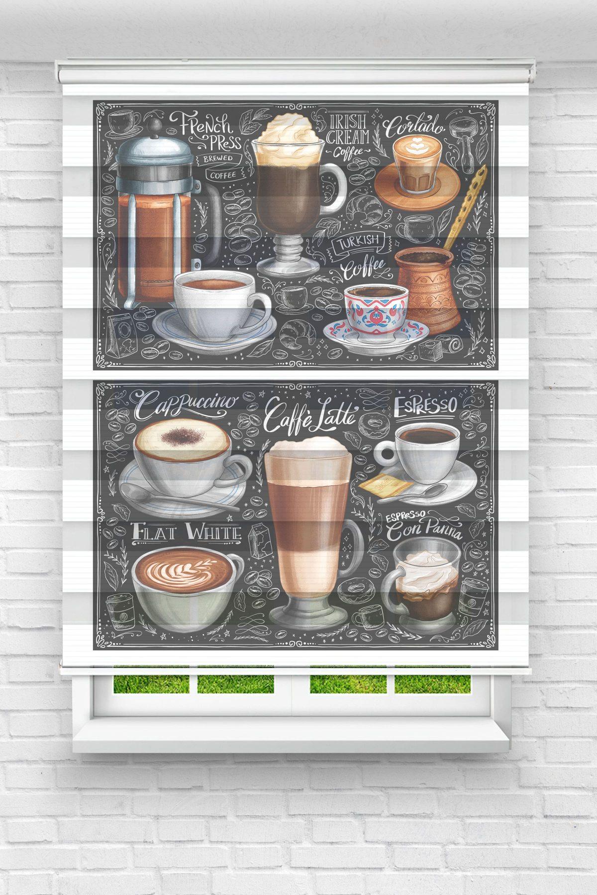 Kahve Çeşitleri Mutfak Stor Zebra Perde