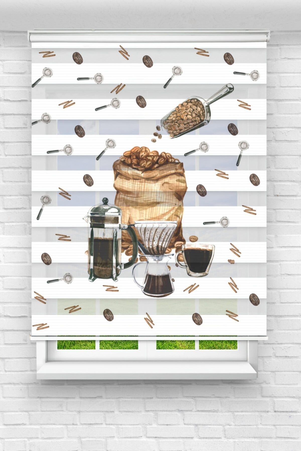Kahve Diyarı Sefası Mutfak Stor Zebra Perde