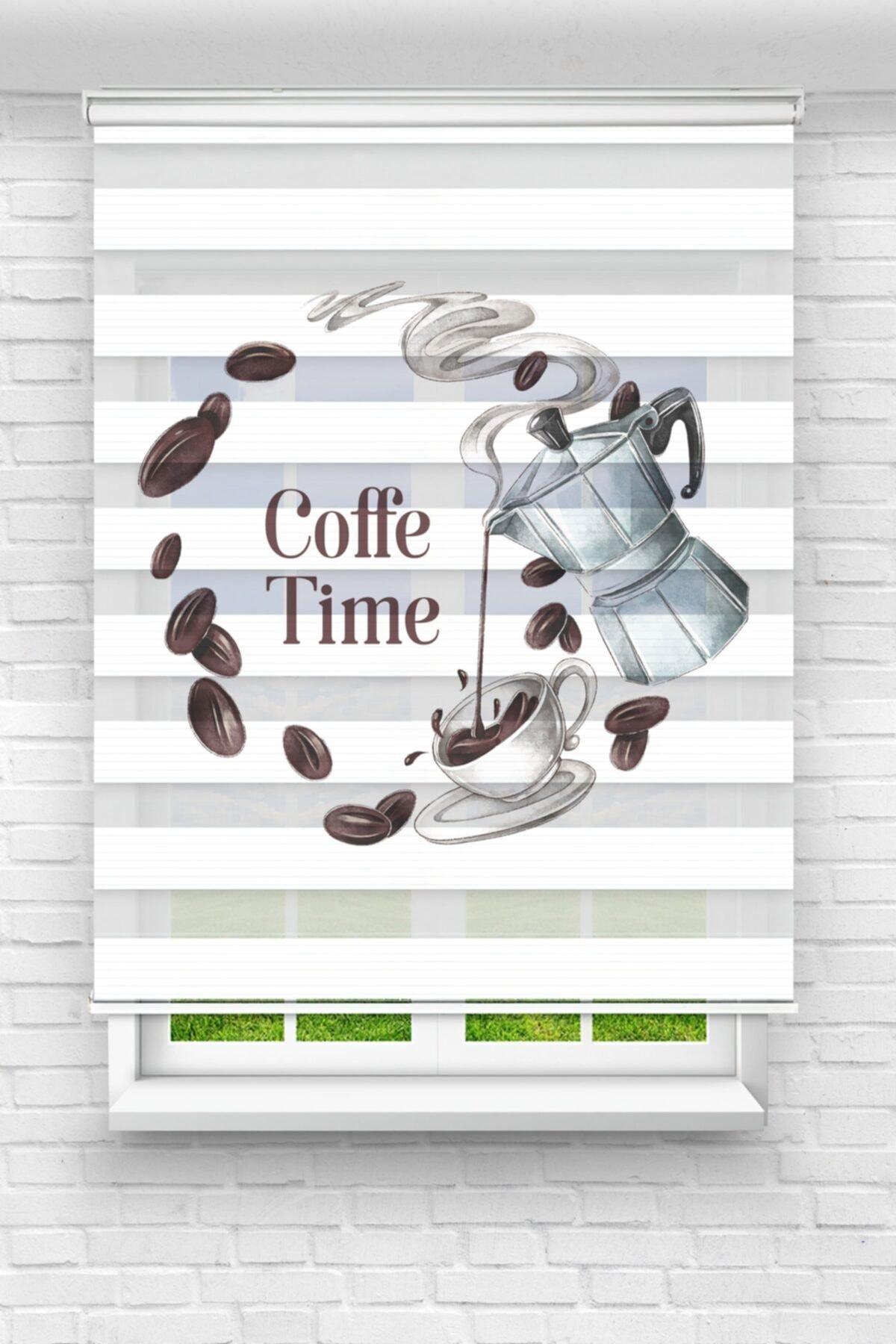 Kahve Zamanı Yuvarlak Mutfak Stor Zebra Perde