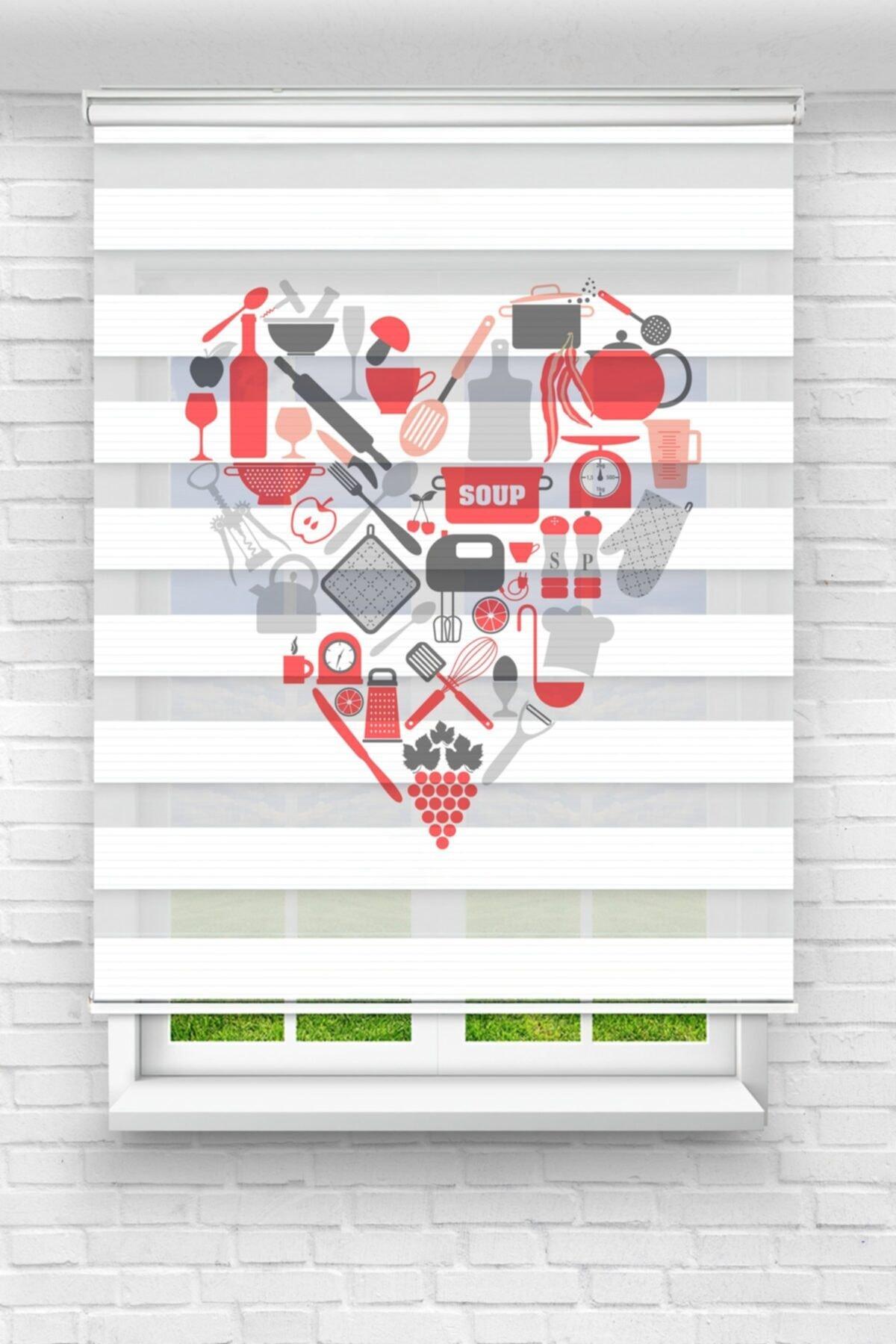 Kırmızı Mutfak Gereçleri Kalp Mutfak Stor Zebra Perde