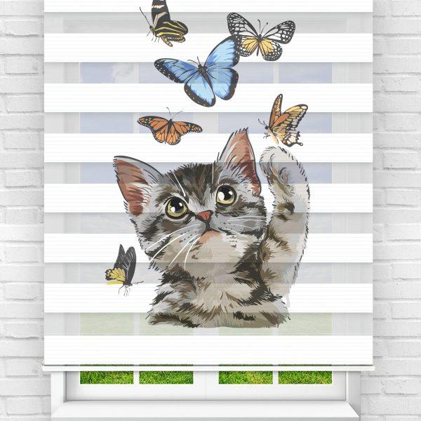 Kelebeklerle Oynayan Kedi Genç Odası Stor Zebra Perde