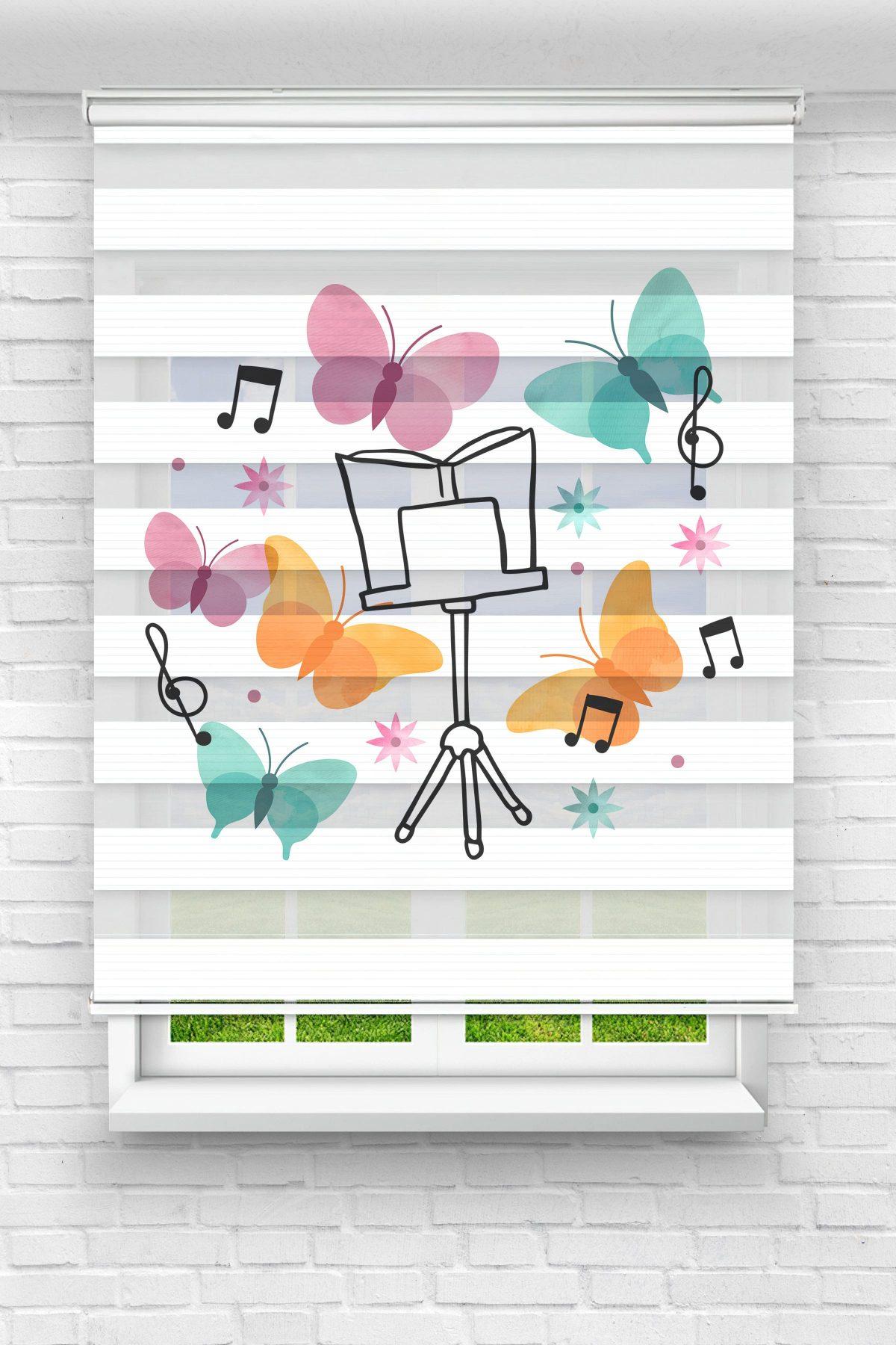 Müzikal ve Renkli Kelebeler Çocuk Odası Stor Zebra Perde