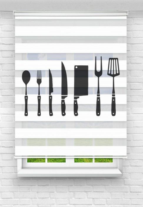Çatal Bıçak Kaşık Mutfak Stor Zebra Perde
