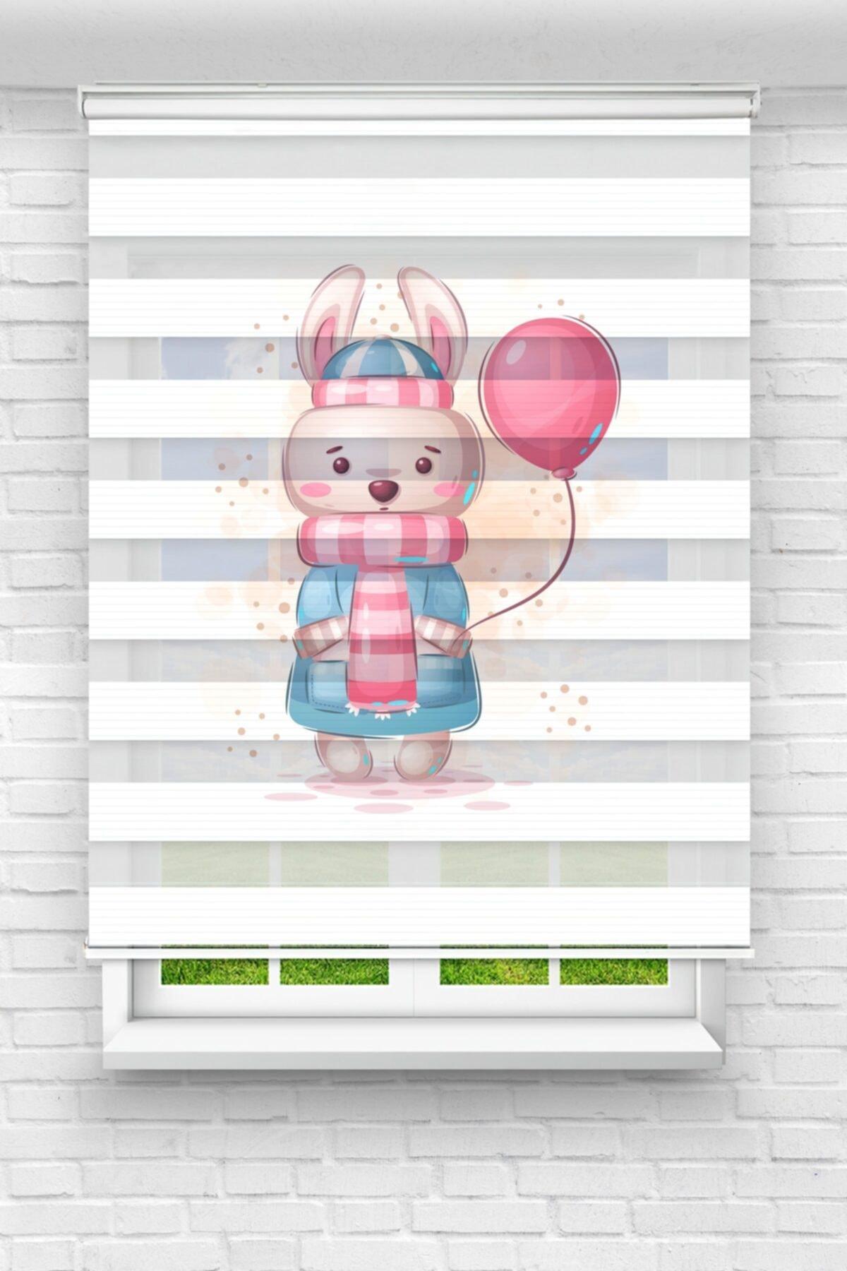 Pembe Balonlu Minik Tavşan Çocuk Odası Stor Zebra Perde