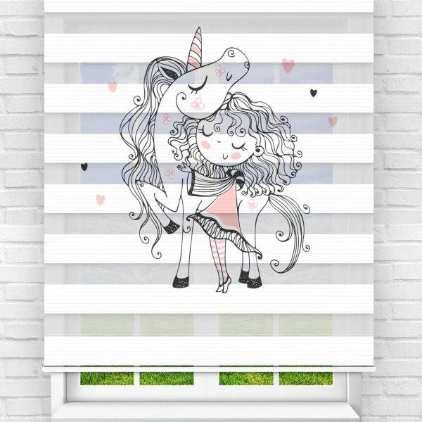Unicorn ve Pembe Kız Çocuk Odası Stor Zebra Perde