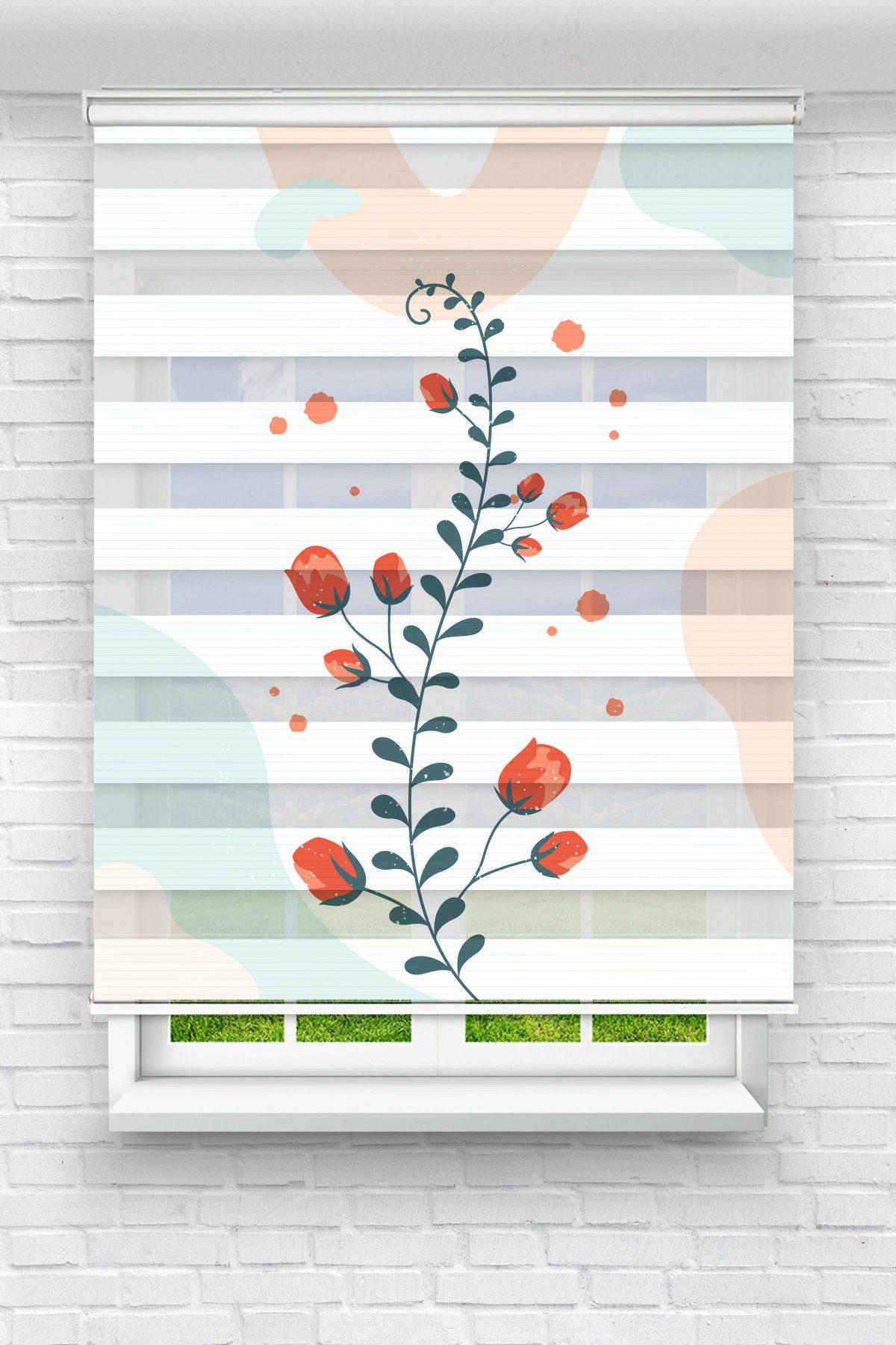 Sarmaşık Güller Çiçekli Genç Odası Stor Zebra Perde