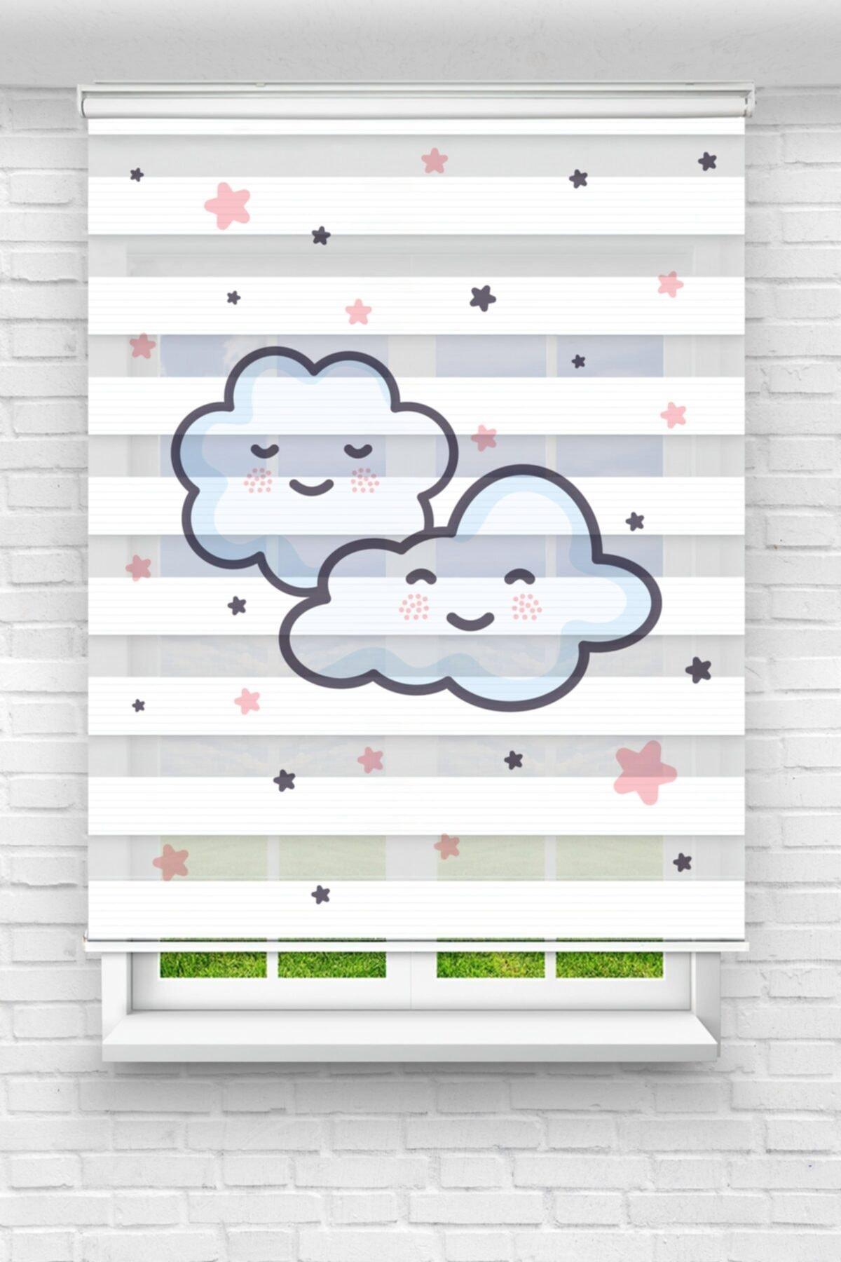 Sevimli Bulutlar ve Yıldızlar Çocuk Odası Stor Zebra Perde