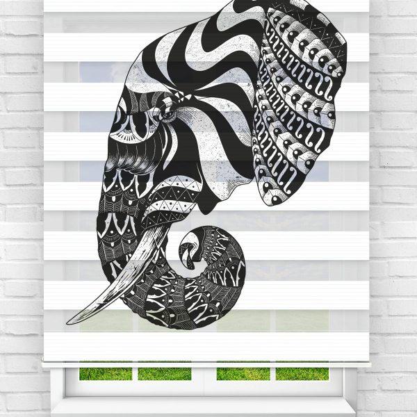 Siyah Motifli Fil Genç Odası Stor Zebra Perde