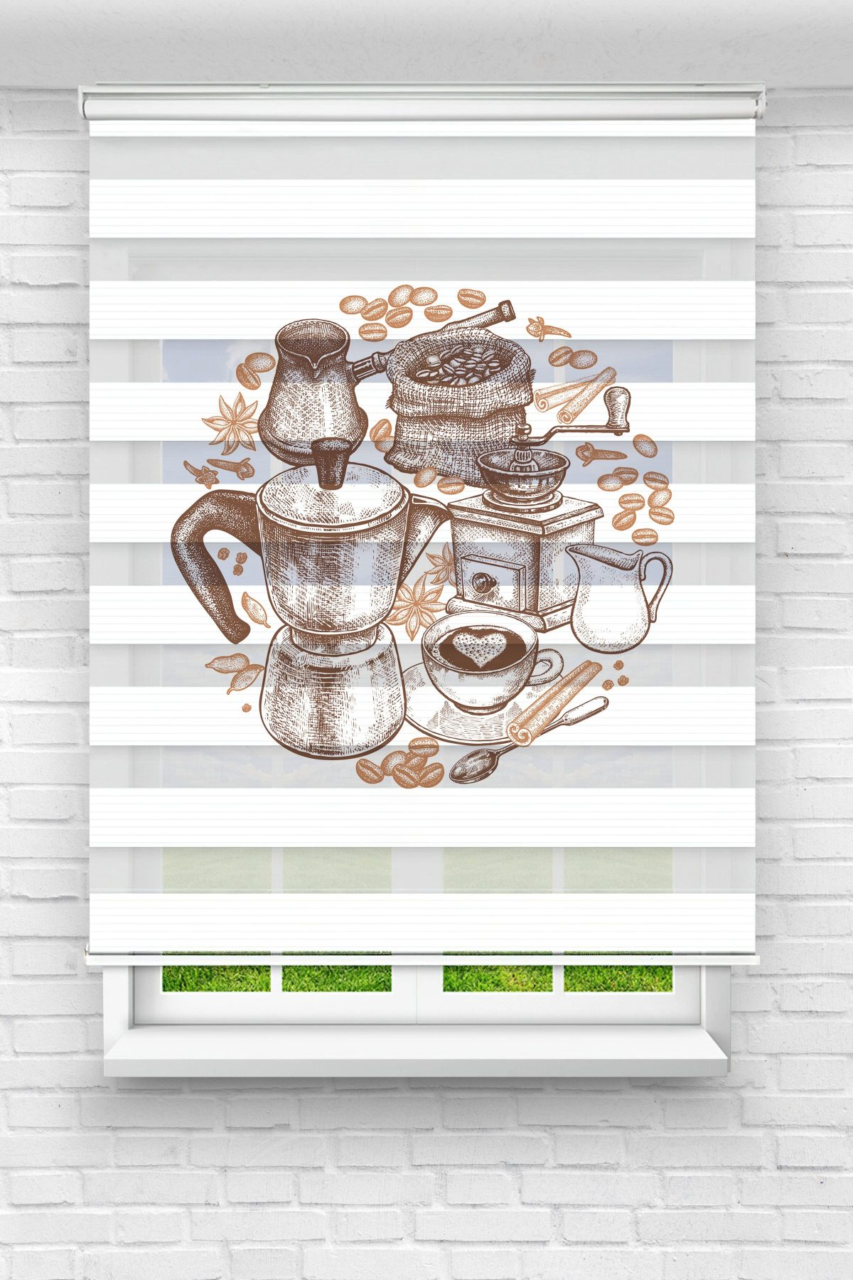Tarçın ve Kahve Gereçleri Mutfak Stor Zebra Perde