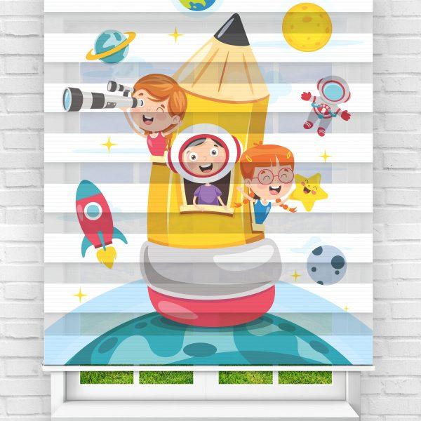 Astronot Çocuklar Çocuk Odası Stor Zebra Perde