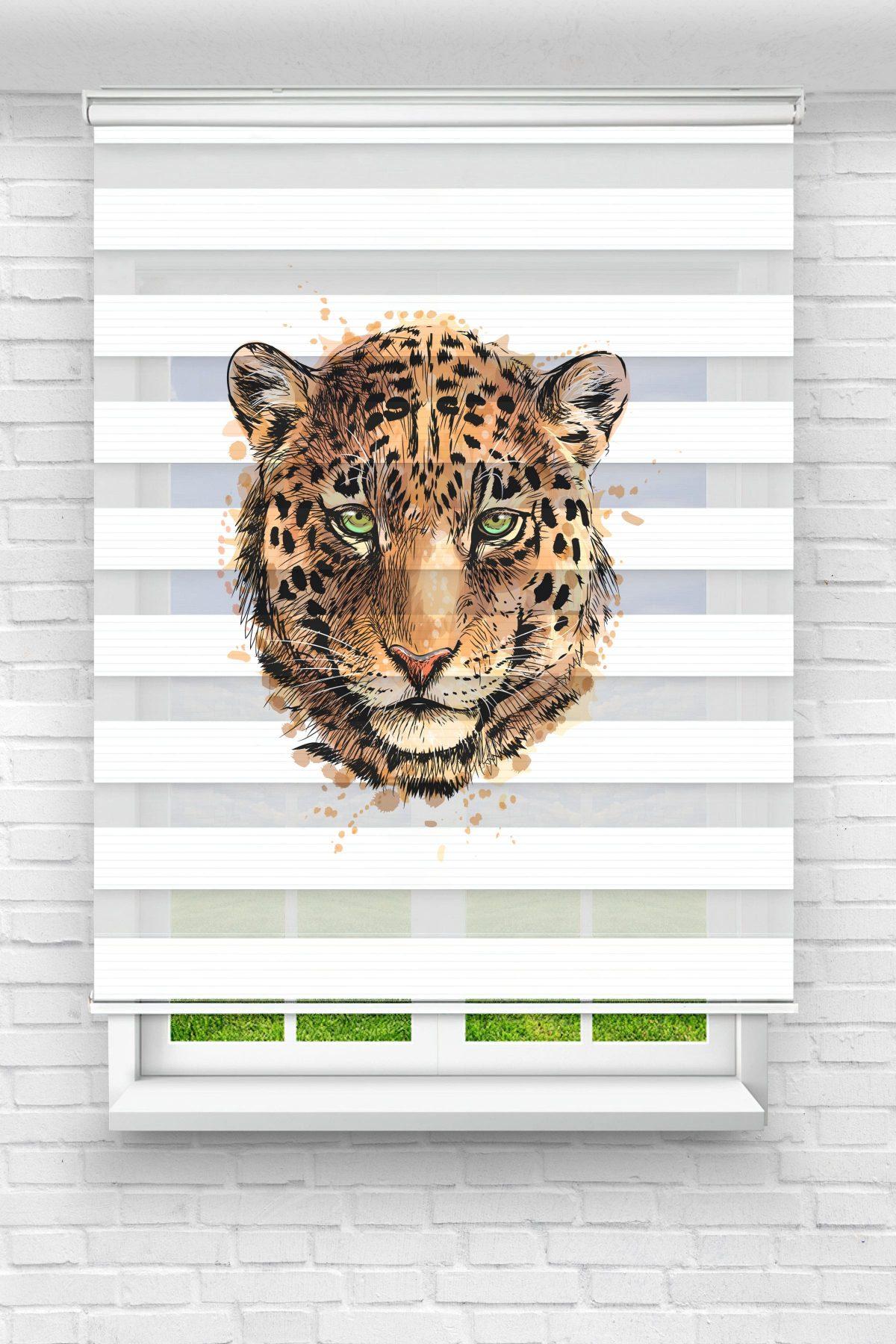 Vahşi Leopar Genç Odası Stor Zebra Perde