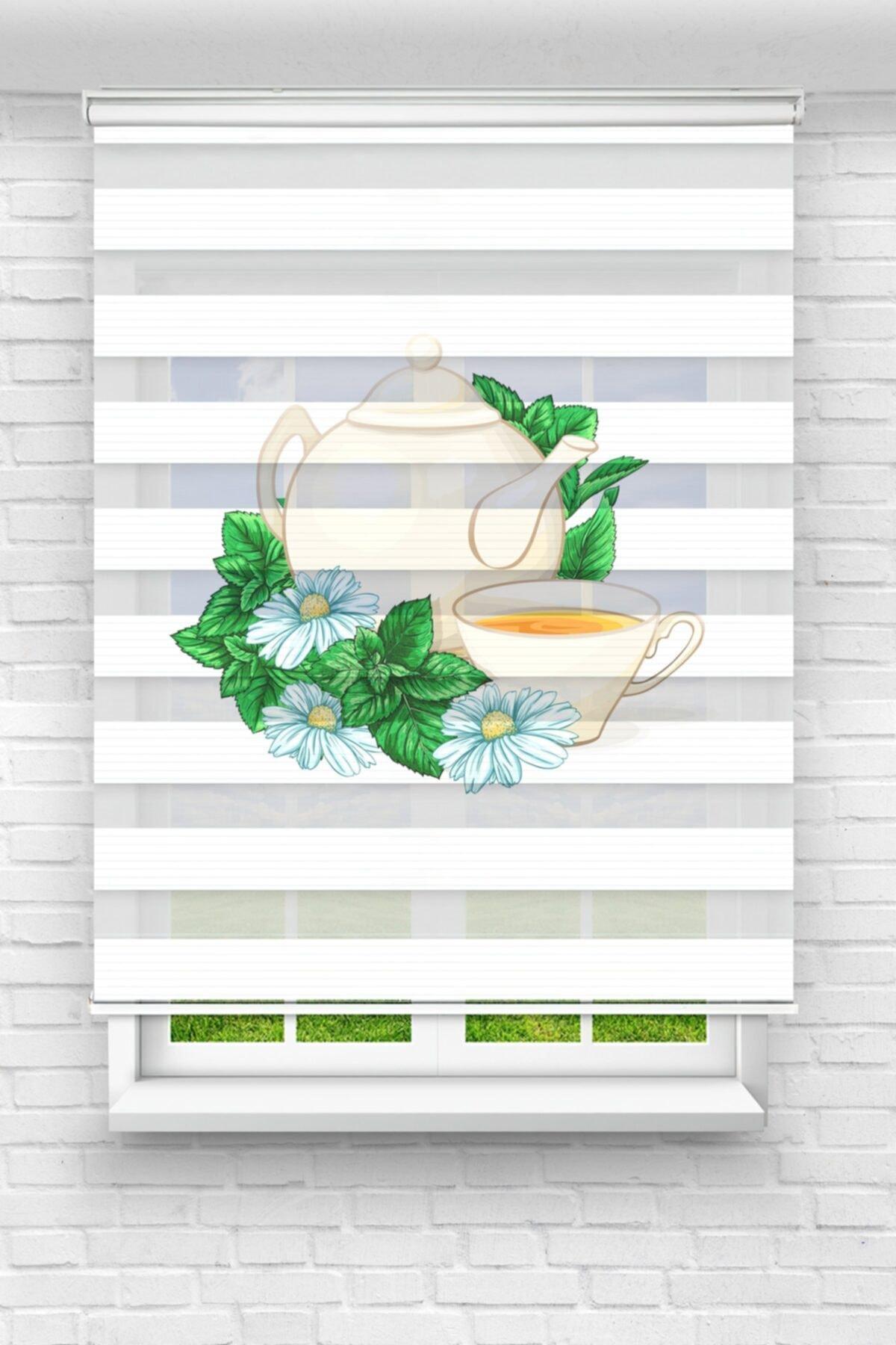 Yeşil Çay ve Papatyalar Mutfak Stor Zebra Perde