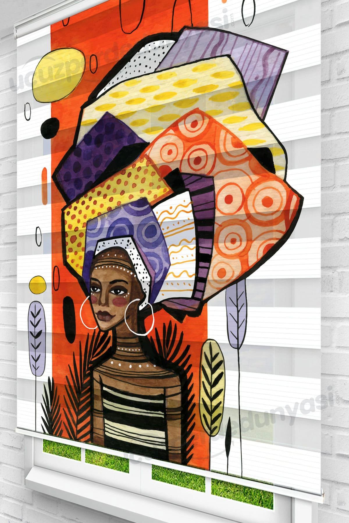Africa Girl Genç Odası Zebra Perde