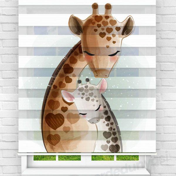 Aile Zuraafalar Çocuk Odası Zebra Perde