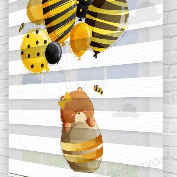 Arı Kovanındaki Ayı Çocuk Odası Zebra Perde