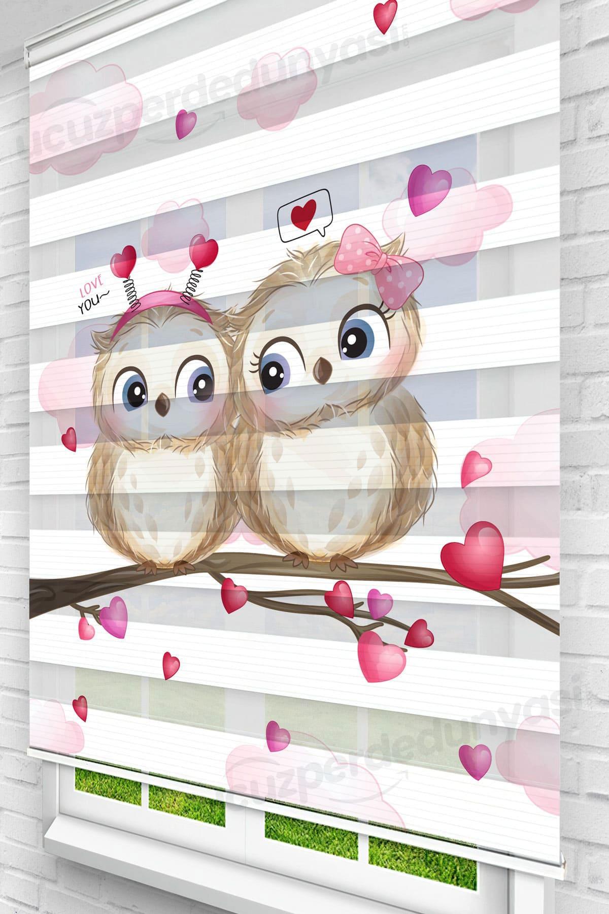 Aşık Baykuşlar Çocuk Odası Zebra Perde