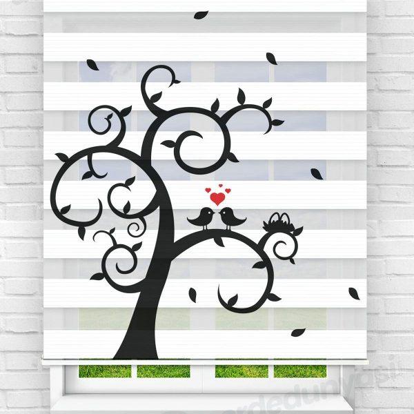 Aşk Kuşları Mutfak Zebra Perde