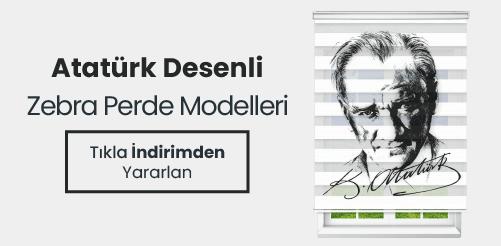 Atatürk desenli zebra perde modelleri