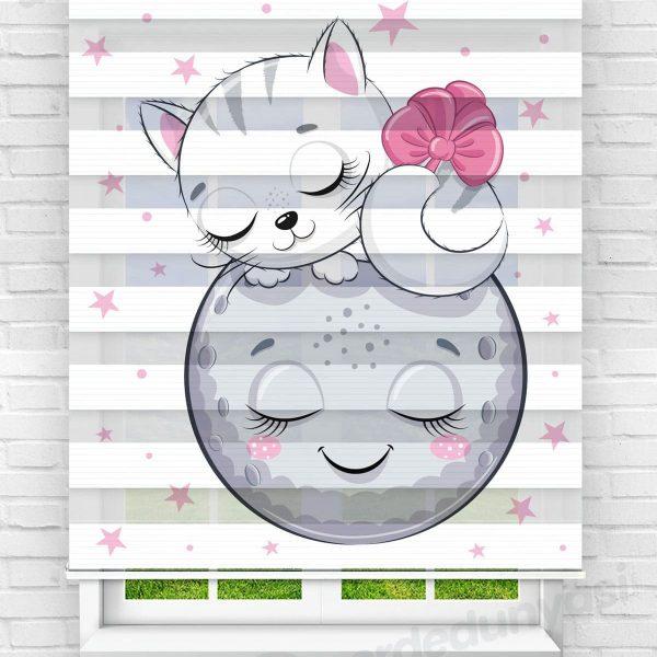 Sevimli Ay ve Kedi Çocuk Odası Zebra Perde