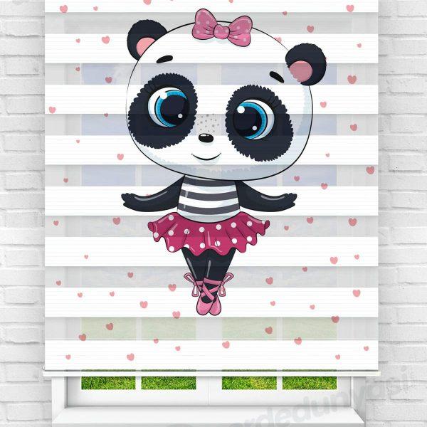 Balet Panda Kız Çocuk Odası Zebra Perde
